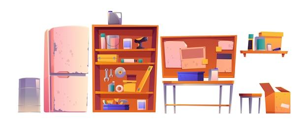Garagenausrüstung für tischler- und reparaturarbeiten Kostenlosen Vektoren