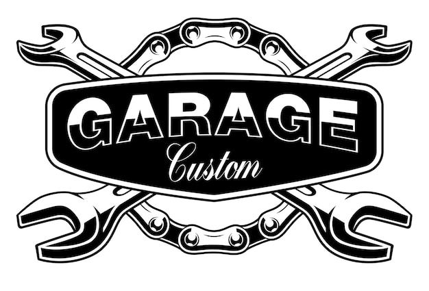 Garagenemblem mit motorradkette und schraubenschlüsseln auf weißem hintergrund. text befindet sich in der separaten gruppe. Premium Vektoren
