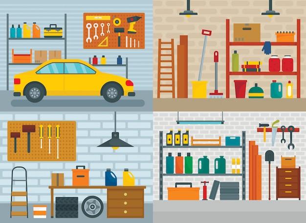 Garageninnenraum fürs auto Premium Vektoren