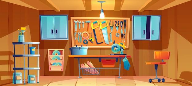 Garageninnenraum mit instrumenten für reparaturarbeiten Kostenlosen Vektoren