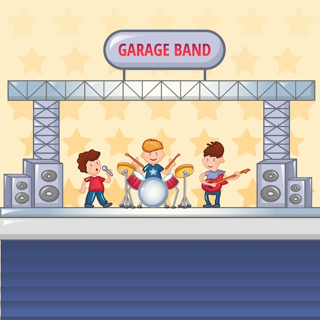 Garagenrockbandkonzept, karikaturart Premium Vektoren