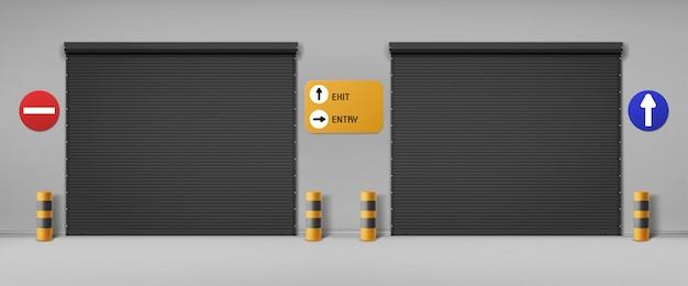 Garagentore, kommerzielle hangareingänge mit rollläden und schildern. Kostenlosen Vektoren