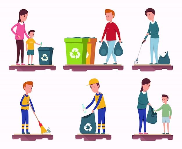 Garbage collection set Premium Vektoren