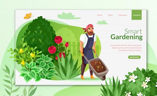 Garten cartoon landing page Premium Vektoren