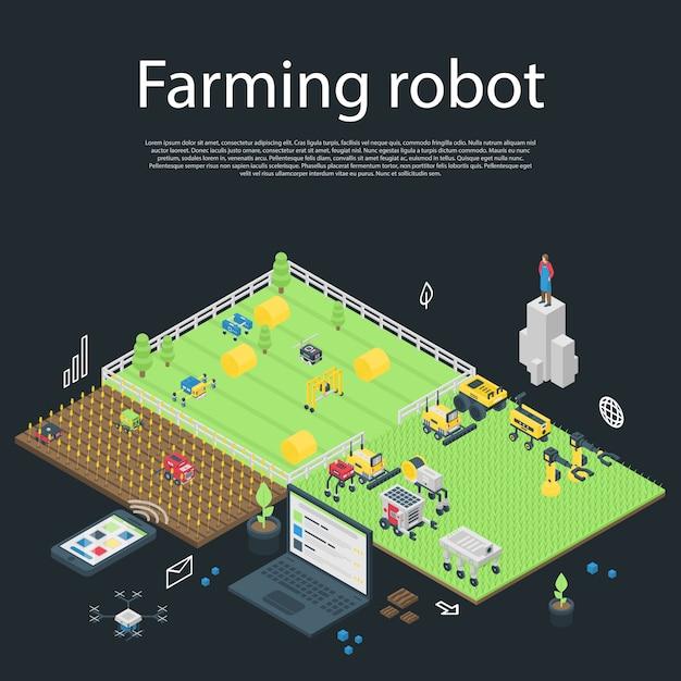 Garten, der roboterkonzeptfahne, isometrische art bewirtschaftet Premium Vektoren
