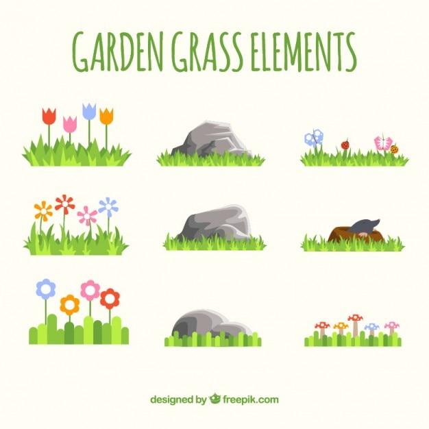 Garten gras elemente Kostenlosen Vektoren