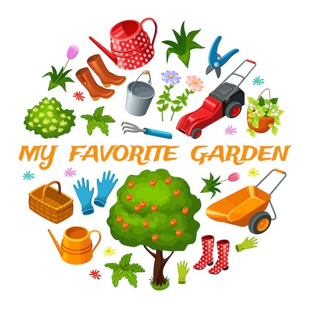 Garten isometrische elemente. Kostenlosen Vektoren