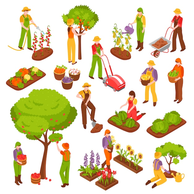 Garten isometrische set Kostenlosen Vektoren