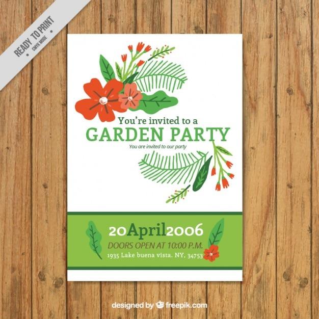 Garten Party Einladung Kostenlose Vektoren