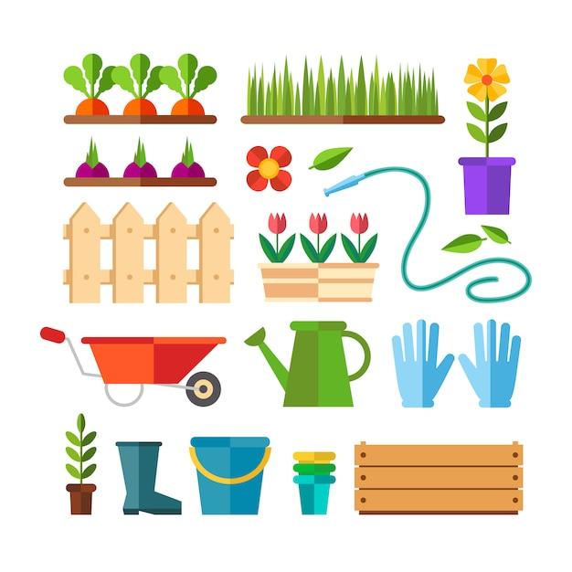 Garten- und gartenbau, hobbygeräte, gemüsekisten und pflanzen. Kostenlosen Vektoren