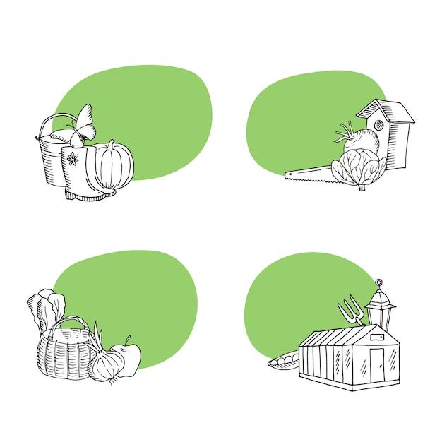 Gartenarbeit gekritzelikonenaufkleber eingestellt Premium Vektoren
