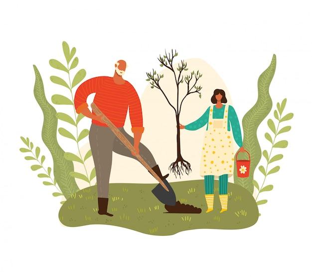 Gartenarbeit, großvater und enkelinmädchen, das baum pflanzt, ökologie, grüner planet, wachsende bäume, karikaturillustration erntend. nette charaktere, kreative personensammlung. Premium Vektoren