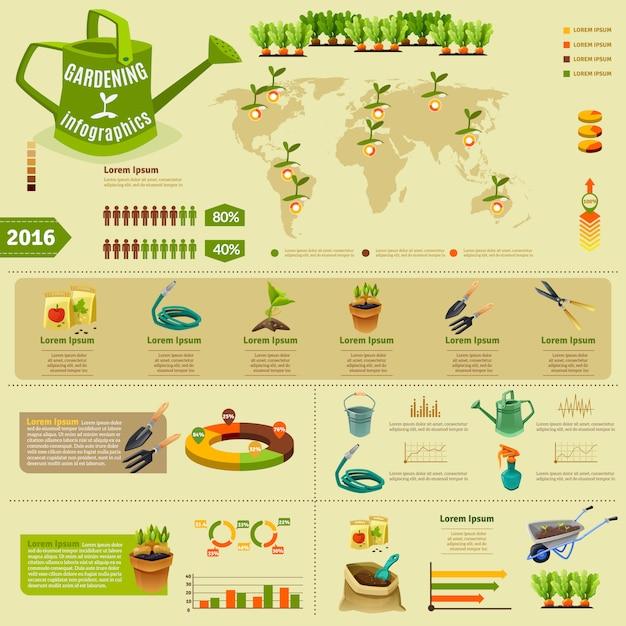 Gartenarbeit infographik layout Kostenlosen Vektoren