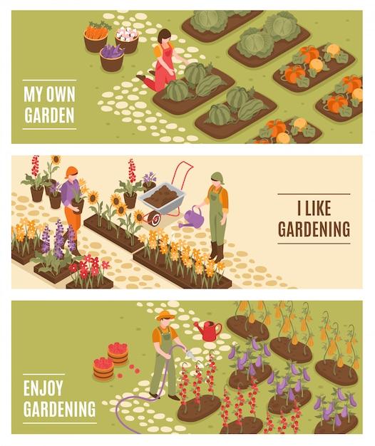 Gartenarbeit isometrische banner set Kostenlosen Vektoren