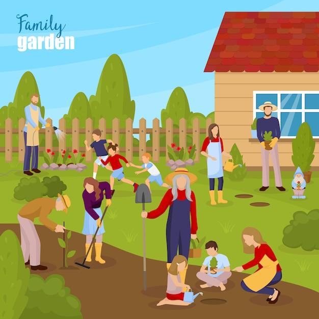Gartenarbeit und familienillustration Kostenlosen Vektoren
