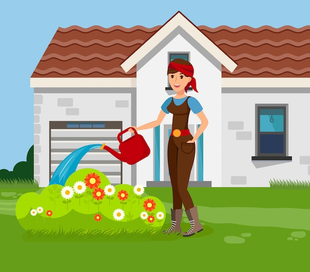 Gartenarbeit Premium Vektoren