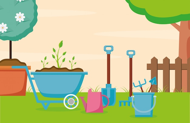 Gartenarbeitkonzept Kostenlosen Vektoren