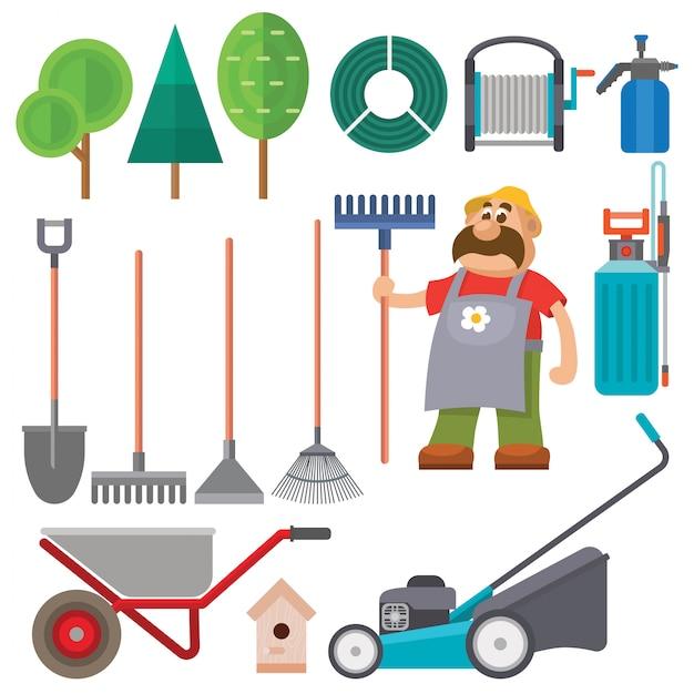 Gartenausrüstung flaches set vektor gärtner charakter illustration landwirtschaft landwirtschaft werkzeuge Premium Vektoren