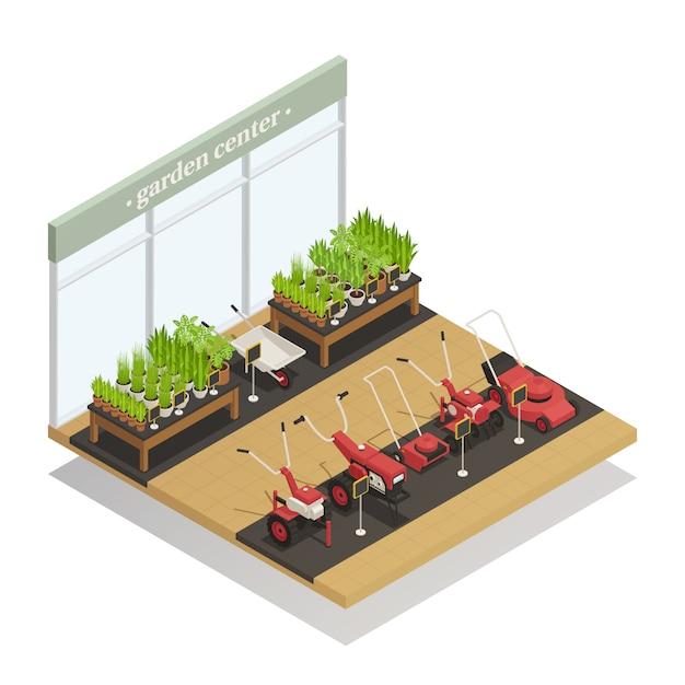 Gartencenter-ausrüstungs-verkaufs-isometrische zusammensetzung Kostenlosen Vektoren