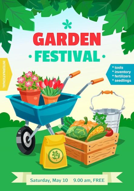 Gartenfestival poster Kostenlosen Vektoren
