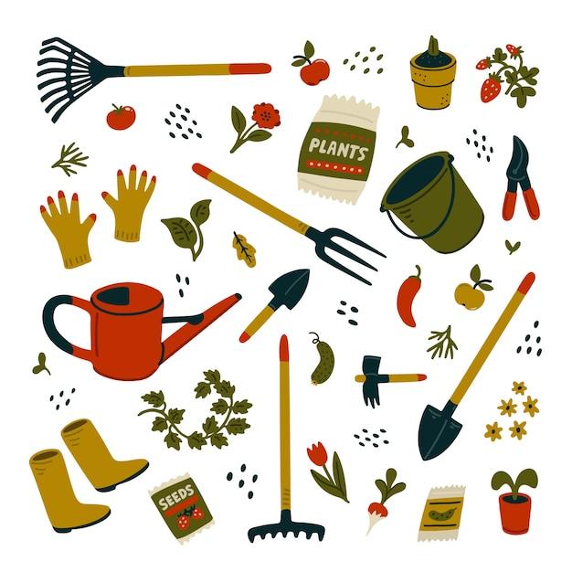 Gartengeräte-set. verschiedene arten von werkzeugen für die gartenarbeit. illustration im karikaturstil auf weißem hintergrund Premium Vektoren
