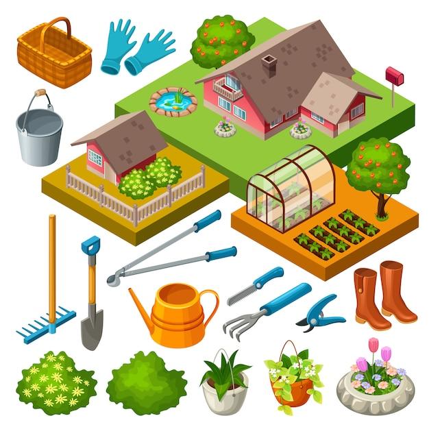 Gartengeräte und blumen. Premium Vektoren