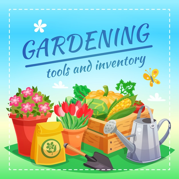 Gartengeräte und inventar design-konzept Kostenlosen Vektoren