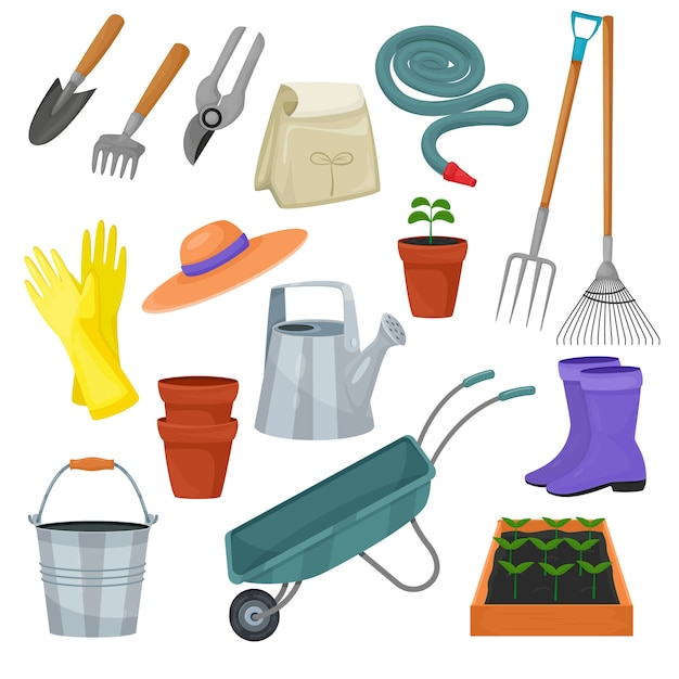 Gartengerätvektorgartenarbeit-rührstange oder schaufel und rasenmäher der gärtnerbauernhofsammlung oder des landwirtschaftssatzes lokalisiert Premium Vektoren