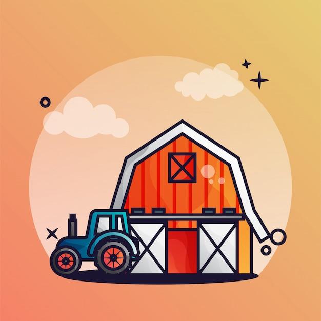 Gartenhäuschen und traktoren Premium Vektoren