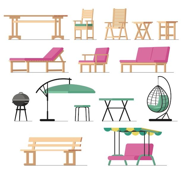 Gartenmöbel vektor tisch stuhl sitz holzkohle-grill auf terrasse design im freien Premium Vektoren