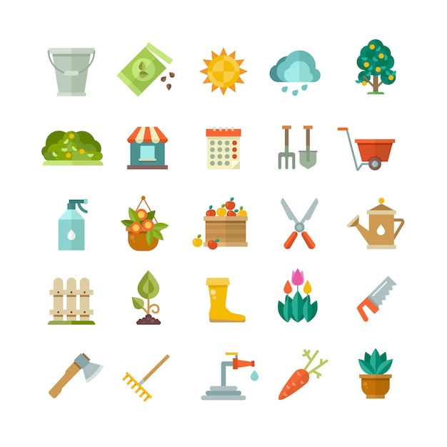 Gartenwerkzeuge Premium Vektoren