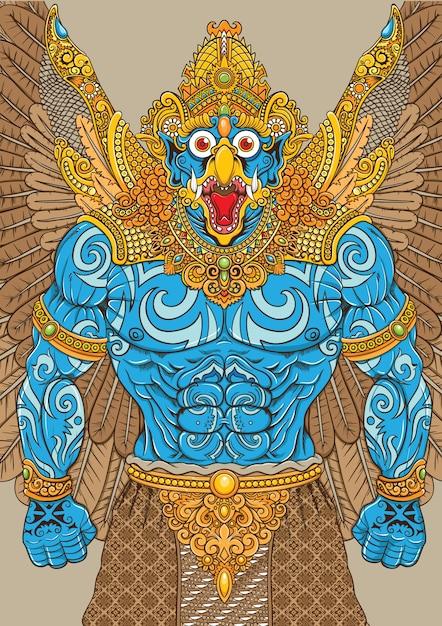 Garuda-mythologieillustration mit traditionellen verzierungen Premium Vektoren