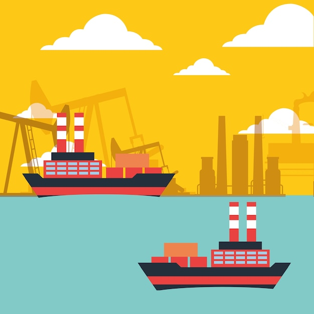 Gas öltanker schiffe transportieren chemische industrie Premium Vektoren