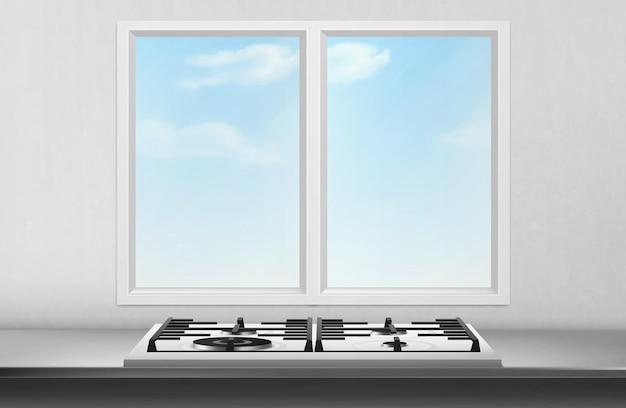 Gas- und elektroherd auf tischoberfläche vor küchenfenster und blick auf den blauen himmel auf weißer wand. Kostenlosen Vektoren