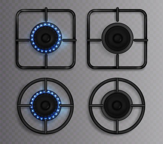 Gasbrenner mit blauer flamme. küchenherd mit beleuchtetem und ausgeschaltetem kochfeld. realistischer satz von kreis- und quadratischen schwarzen stahlgittern und brennern auf ofen für das kochen der draufsicht lokalisiert auf transparentem hintergrund Kostenlosen Vektoren