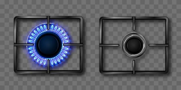 Gasbrenner mit blauer flamme und schwarzem stahlgitter Kostenlosen Vektoren