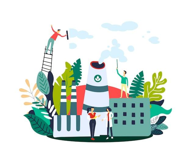 Gasemissionsverringerungsleute auf eco fabrik Premium Vektoren