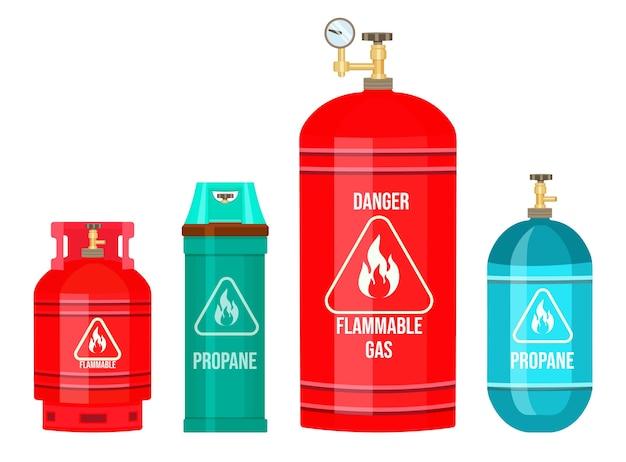 Gasflasche, ballon mit gas, propan, gastank Premium Vektoren