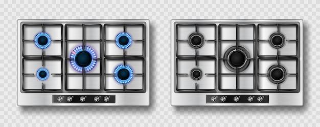 Gasherd mit blauer flamme und schwarzem stahlgitter Kostenlosen Vektoren