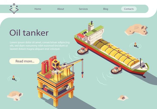 Gasöltanker und offshore-plattform Premium Vektoren