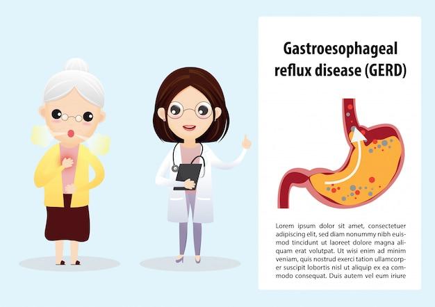Gastroösophageale refluxkrankheit (gerd) Premium Vektoren