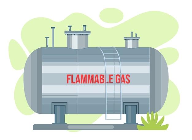 Gaszisterne vektortank. propansymbolbehälter. sauerstoffgas zylindrischer behälter kraftstoffspeicher Premium Vektoren