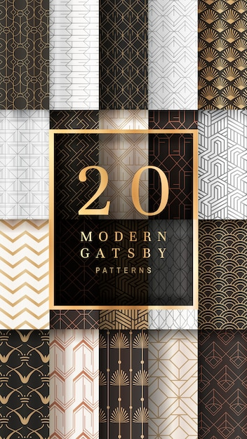 Gatsby gemusterte banner Kostenlosen Vektoren