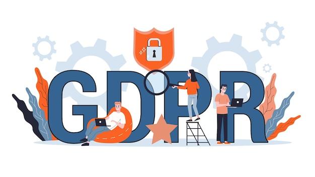 Gdpr oder allgemeines datenschutzrechtliches konzept. idee der computerinformationssicherheit. illustration Premium Vektoren