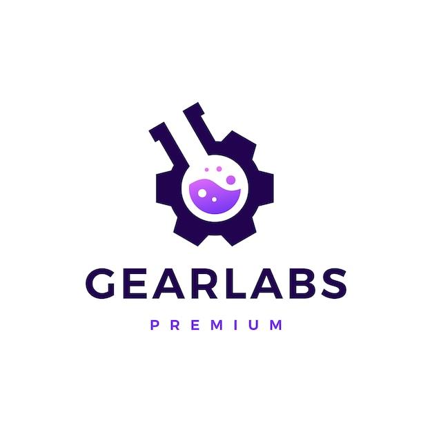 Gear lab labs logo symbol illustration Premium Vektoren