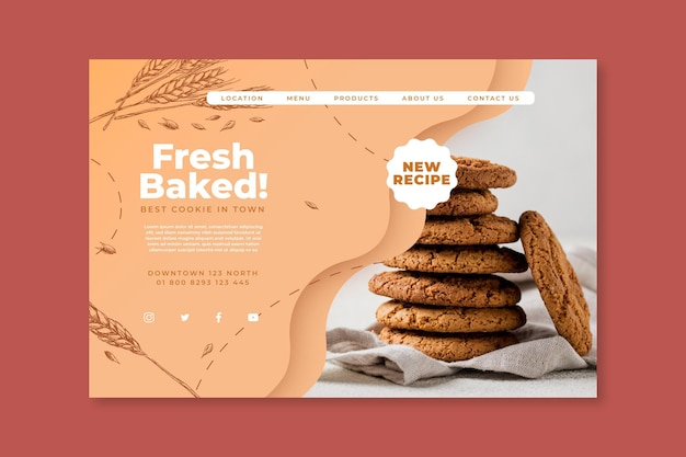 Gebackene kekse landingpage Kostenlosen Vektoren