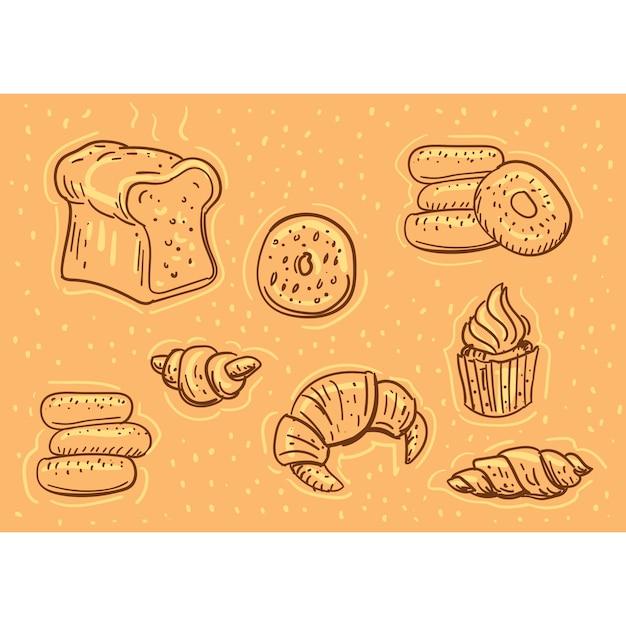 Gebäck doodle illustration Premium Vektoren