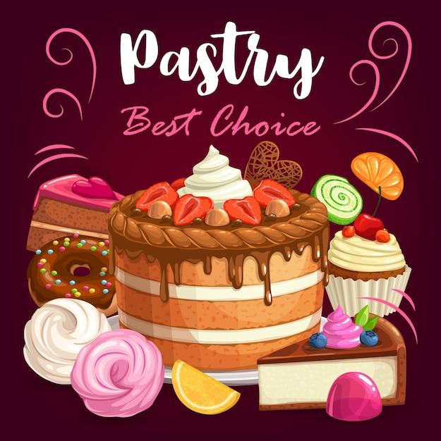 Gebäckkuchen, desserts und bäckerei süße cupcakes, plakat. patisserie desserts menü mit süßem gebäck, schokoladenkuchen, käsekuchen, donut mit beerenmuffins, souffle kekse und marmelade Premium Vektoren