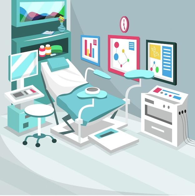 Gebärende kaiserschnitt-chirurgie-krankenzimmer Premium Vektoren