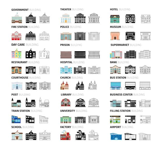 Gebäude-cartoon-set Premium Vektoren